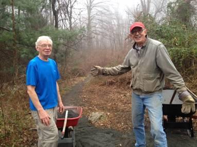 Steve & Elwin making trail at Palmer Taylor Preserve.